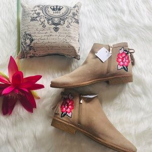 kate spade Bellville embroidered suede bootie, 7.5